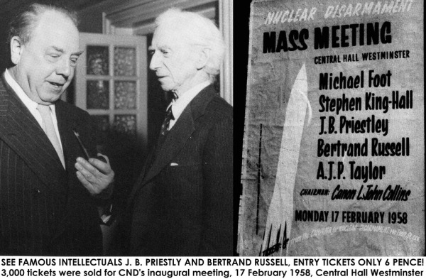 Image of J B Priestly and Bertrand Russel at Nuclear Disarmament Day in 1958